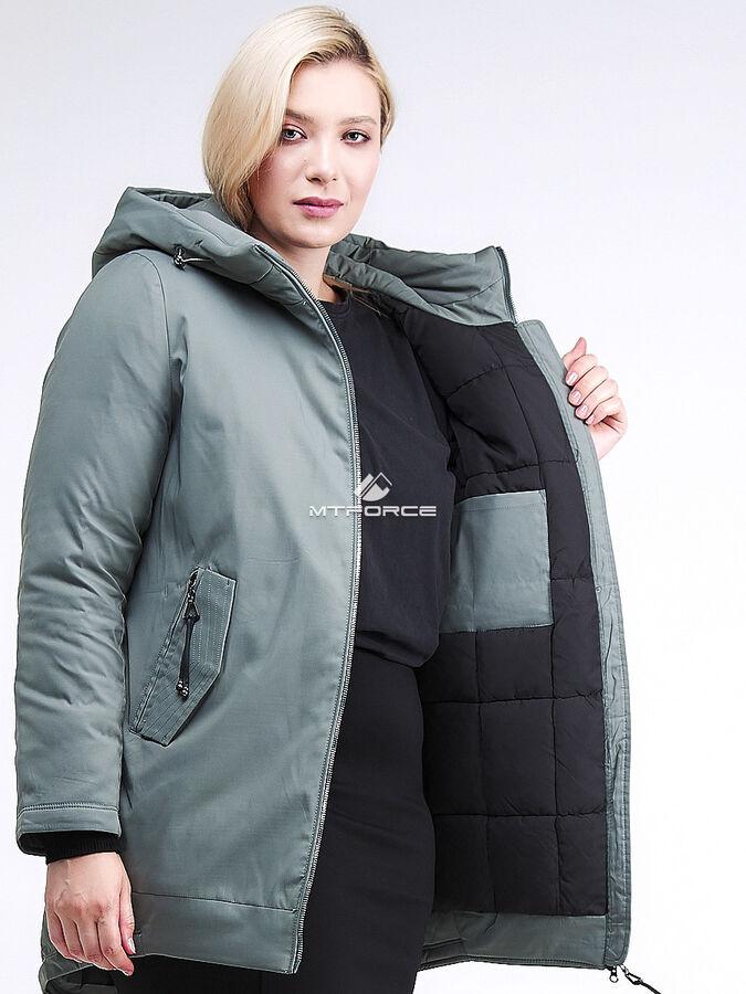 Женская зимняя классика куртка большого размера цвета хаки 86-801_7Kh