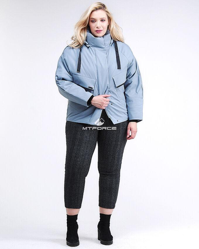 Женская зимняя классика куртка большого размера серого цвета в Хороле