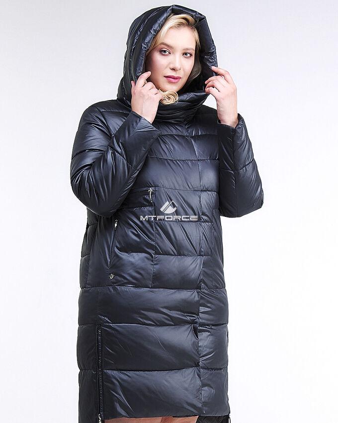 Женская зимняя молодежная куртка с капюшоном темно-синего цвета