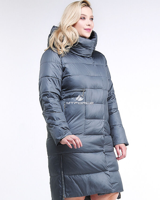 Женская зимняя молодежная куртка с капюшоном темно-серого цвета
