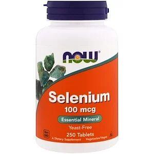 Now Foods, Селен, не содержит дрожжей, 100 мкг, 250 таб