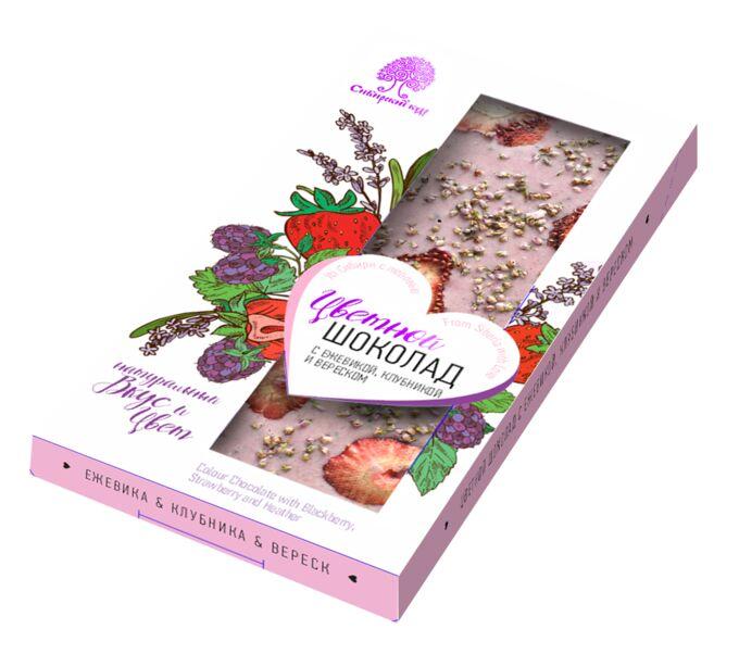 Шоколад цветной с ежевикой, клубникой и вереском /100 г