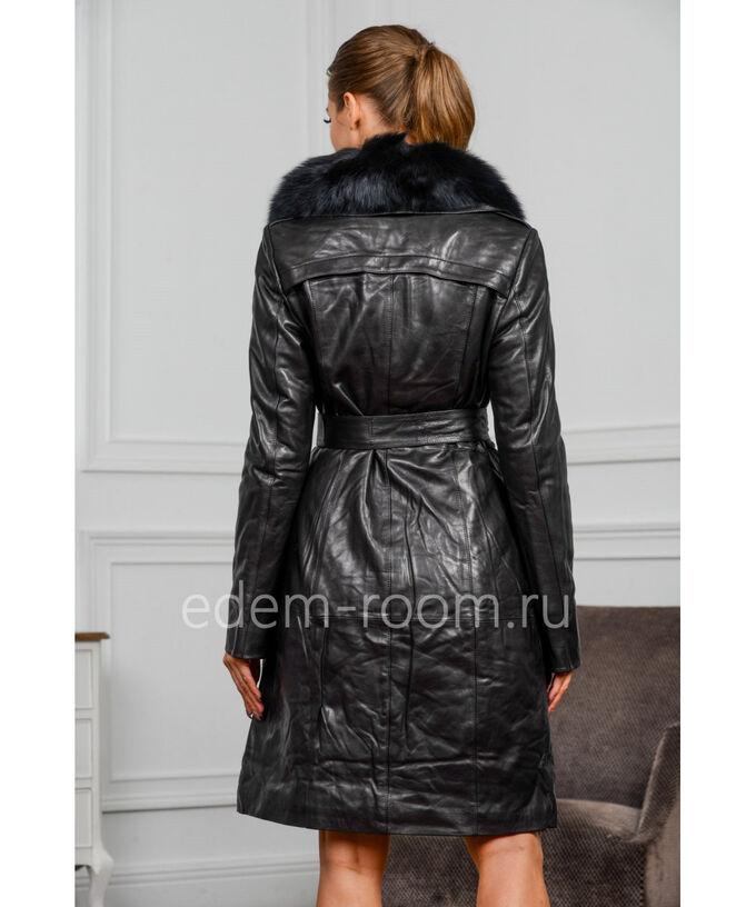 Демисезонный кожаный плащ с меховым воротникомАртикул: S-1805-100-P
