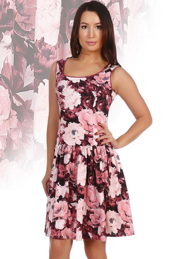 Платье 699 Размеры: 42, 44; Артикул: 001166; Модель: Платье 699; рукав: без рукава; стиль: пляжный, повседневный, молодежный; силуэт: приталенный, расклешенный; рисунок: цветы; отделка: с воланами; вы