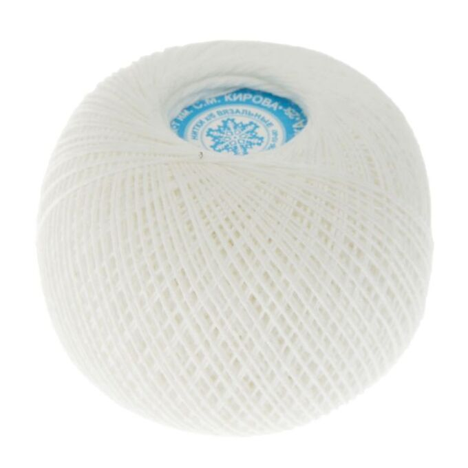"""Нитки вязальные """"Снежинка"""" набор 6 шт, 230м/25гр 100% хлопок цвет белый"""