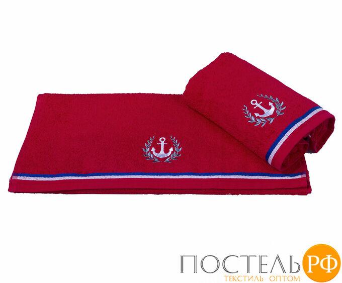 """H0000399 Махровое полотенце с вышивкой 70х140 """"MARITIM"""", красный, 100% Хлопок"""