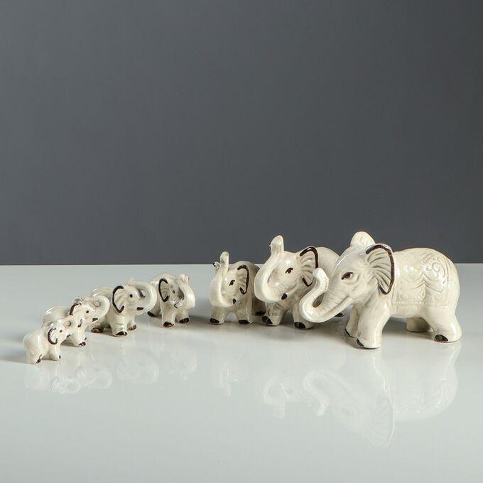 """Набор сувениров """"Слоны"""". 7 предметов. под шамот"""
