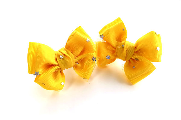 Бантик для волос Малышка желтый фатин с звездами