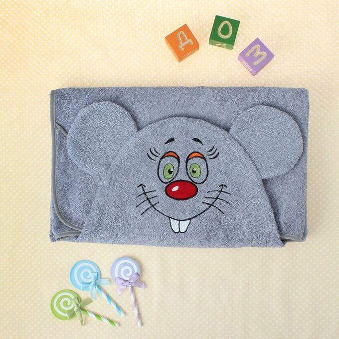 Полотенце-накидка махровое мышка, 75?125 см, серый, Хл, 300 г/м?