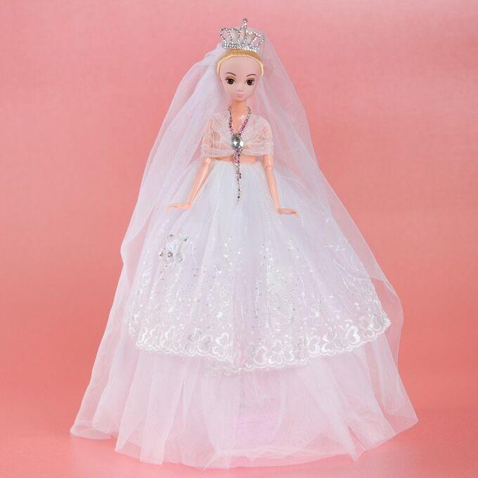 Кукла на подставке «Принцесса», музыкальная, белое платье, накидка