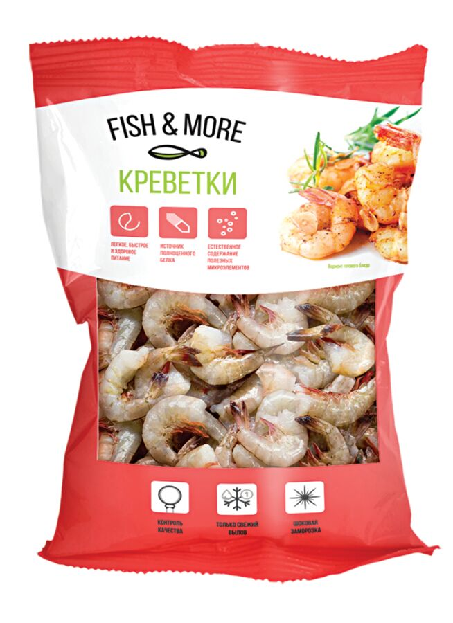 Креветки 21/25 б/г в панцире Fish&More 860 гр