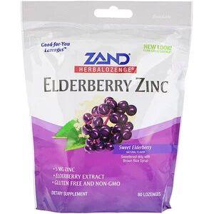 Zand, HerbaLozenge, Elderberry Zinc, Sweet Elderberry, 80 леденцов