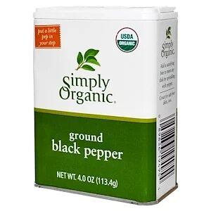 Simply Organic, Молотый черный перец, (113,4 г)