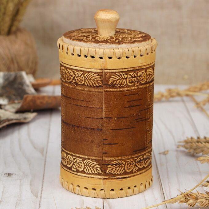 Туес для специй «Земляника», чай, 8х12 см, береста
