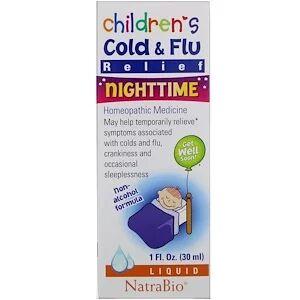 NatraBio, Средство против насморка и простуды у детей, ночное,  (30 мл)