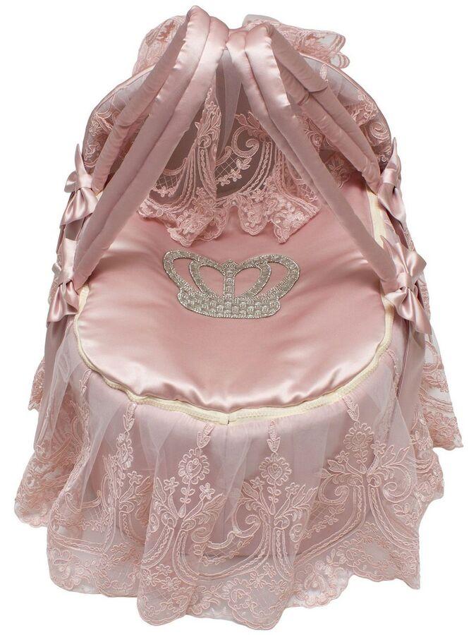 """Люлька-переноска для новорожденного """"Роскошь с бантиками"""" (розовая с розовым кружевом, стразами, бантом)"""