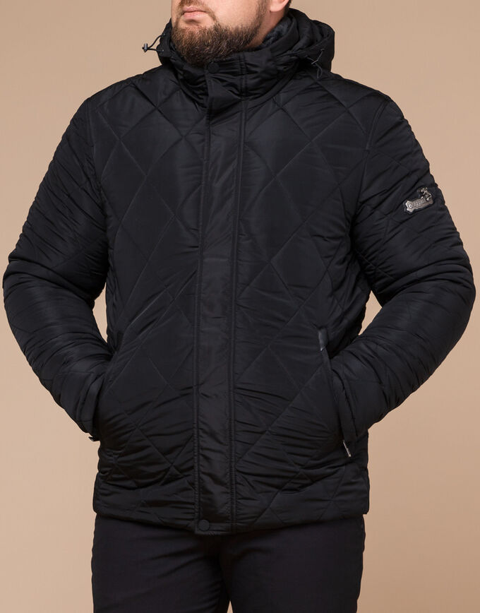 Черная куртка фирменная на зиму модель 19121