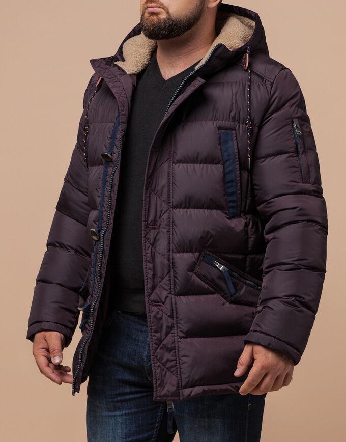 Темно-бордовая стильная куртка мужская модель 35502