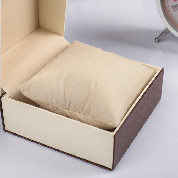 """Шкатулка картон, бархат под часы 1 отделение """"Рябь"""" кофейная 7,5х10,5х10,5 см"""