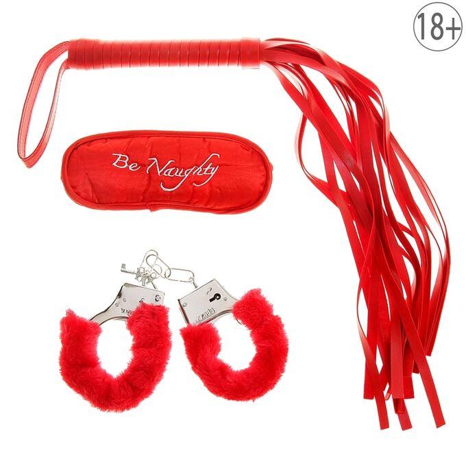 Набор влюбленных, 3 предмета: плетка, наручники, повязка, цвет красный