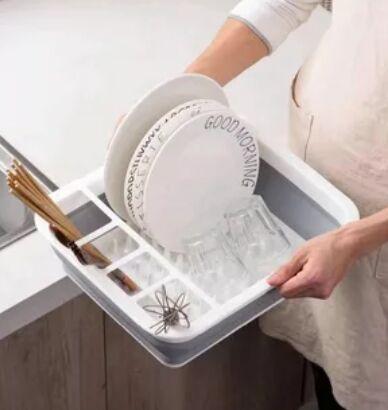 Складная силиконовая сушилка для посуды, БЕЗ ПОДСТАВКИ!