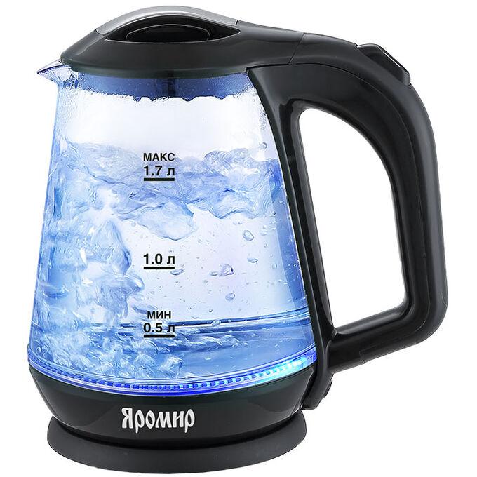 Чайник электрический 2000 Вт, 1,7 л ЯРОМИР ЯР-1045 черный