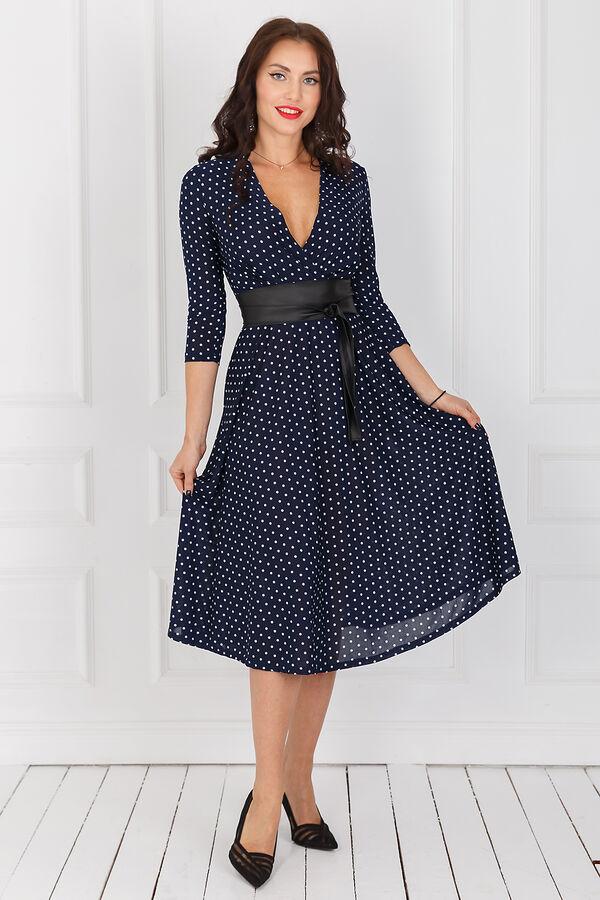 Платье С запахом + пояс (синее в горох) П1110-1