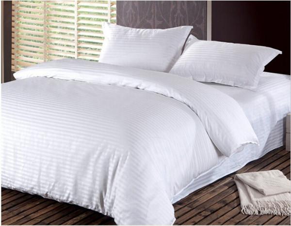 Постельное белье страйп-сатин однотонный полоса 3х3 см (Белый) 1.5 спальное (полутороспальное)