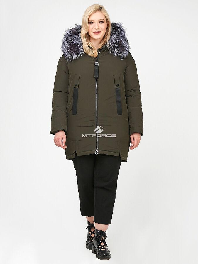 Женская зимняя молодежная куртка большого размера цвета хаки во Владивостоке