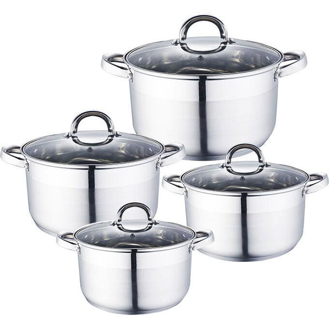 Набор посуды 8 предметов: 4 кастрюли (2 л, 2,8 л, 3,7 л, 6,2 л) из нержавеющей стали со стеклянными крышками BE-339/8