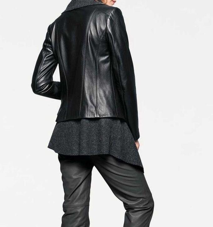 1к Жакет 2 в 1, черно-серый  Heine  Гармоничный цвет и мягкая кожа со съемной контрастной шерстяной вставкой под кардиган. Воротник и асимметричный кант. Можно носить без вставки. Подчеркивающая фигур