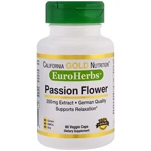 California Gold Nutrition, Passion Flower, EuroHerbs, 250 mg, 60 Veggie Caps