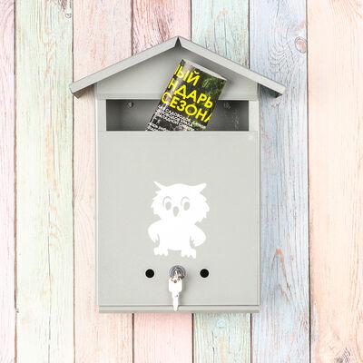 Ящик почтовый с замком, вертикальный, «Домик», серый