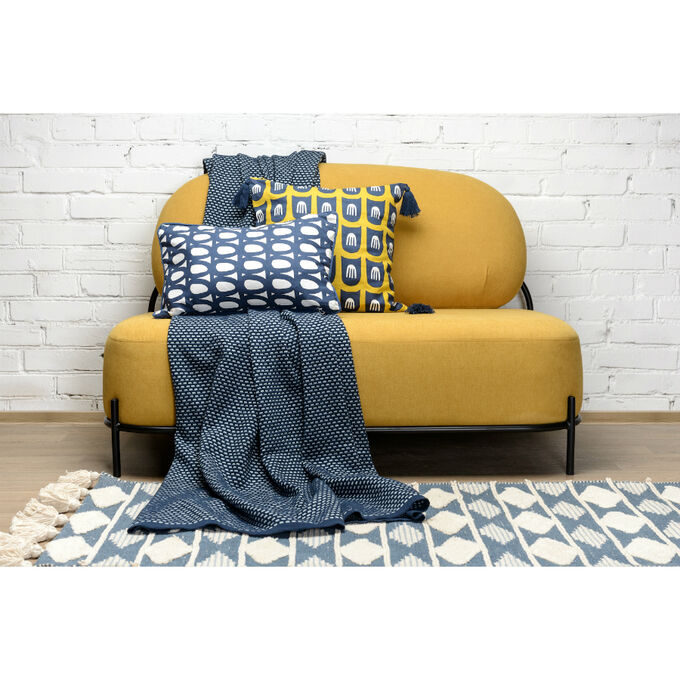 Чехол для подушки с принтом Twirl темно-синего цвета и декоративной окантовкой Cuts&Pieces, 30х50 см