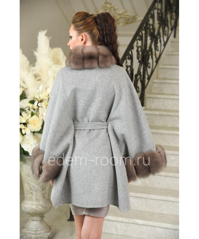 Элегантное шерстяное пальто с мехом финского песца осенне - весеннееАртикул: A-14724-85-SR-P