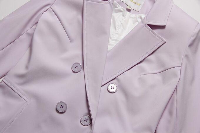 Сиреневый Одним из самых актуальных решений на весенне-летний период  считается жакет. Этот предмет гардероба всегда подчеркивает утонченный женственный стиль. Ткань бондинг состоит из двух слоев: вер
