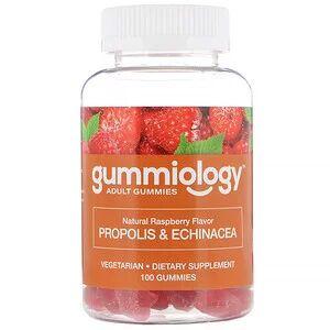 Gummiology, жевательные таблетки для взрослых с прополисом и эхинацеей «Малина», 100 таб.