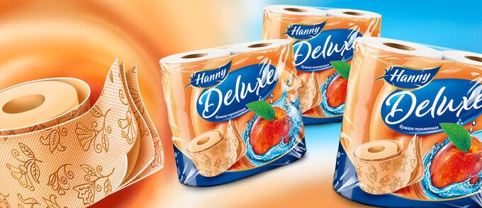 """Туалетная бумага HANNY """"Deluxe Peach"""", 3слоя, 4 рулона, 19,4 метра"""