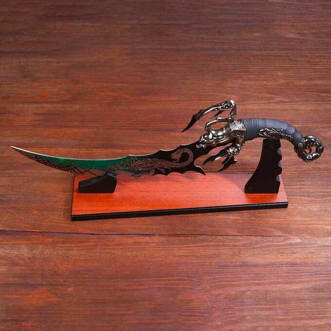 Сувенирный нож на подставке, скорпион на лезвии и рукоятке, 53,5 см