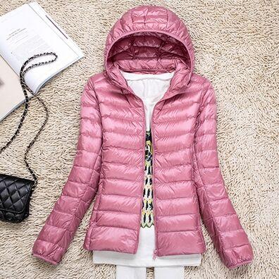 Ультралегкая женская куртка с капюшоном, цвет светло-розовый