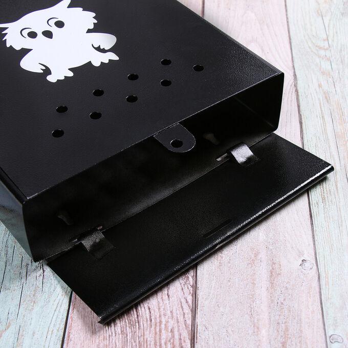 Ящик почтовый без замка (с петлёй), вертикальный, «Домик», чёрный