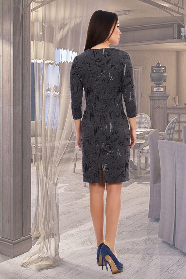 Платье Бренд Натали Ткань: жаккард Платье женское из поливискон жаккарда. Полуприлегающего силуэта. Рукав втачной 3/4. Полочка состоит из кокетки и нижней части. Спинка со средним швом и со шлицей.  П