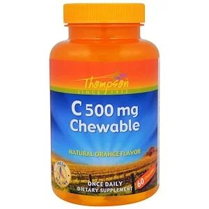 Thompson, Витамин C 500 мг, Оригинальный апельсиновый вкус, 60 жевательных таб.