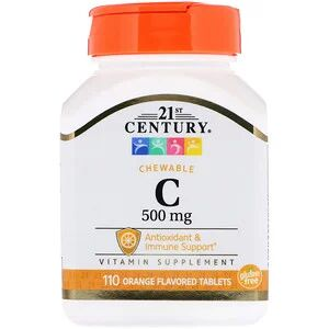 21st Century, Chewable C, 500 mg, 110 Orange Flavored Tab.