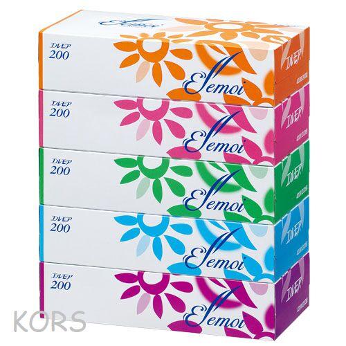 """""""Kami Shodji"""" """"ELLEMOI"""" Бумажные двухслойные салфетки 200шт (спайка 5 пачек)"""