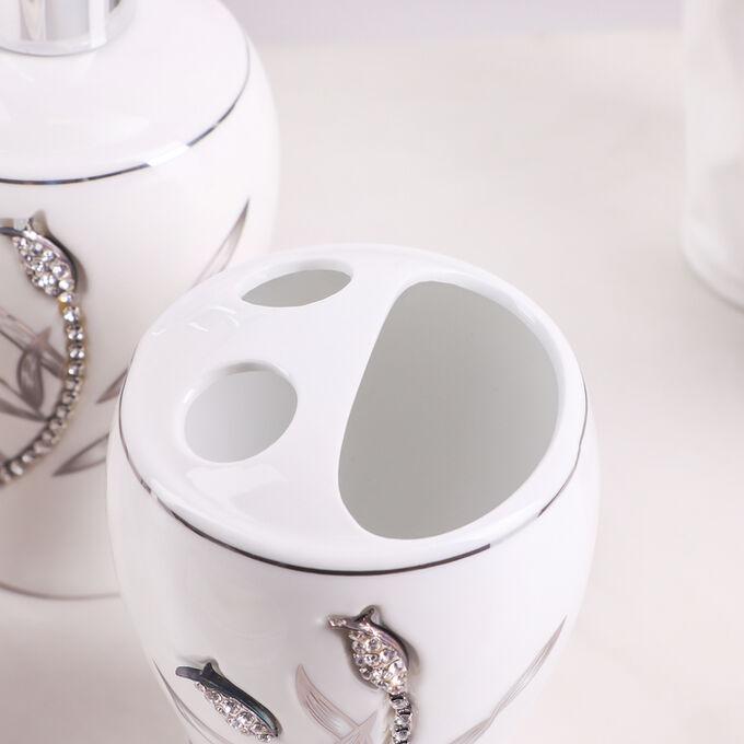 Набор аксессуаров для ванной комнаты «Тюльпан», 4 предмета (дозатор 450 мл, мыльница, 2 стакана), цвет белый