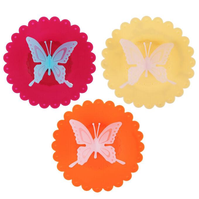 """Крышка для кружки, силикон, 10,5см, """"Бабочка"""", 3 цвета"""