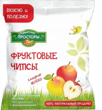 """Чипсы яблочные  кисло-сладкие, """"Сибирские просторы"""" 25 г"""