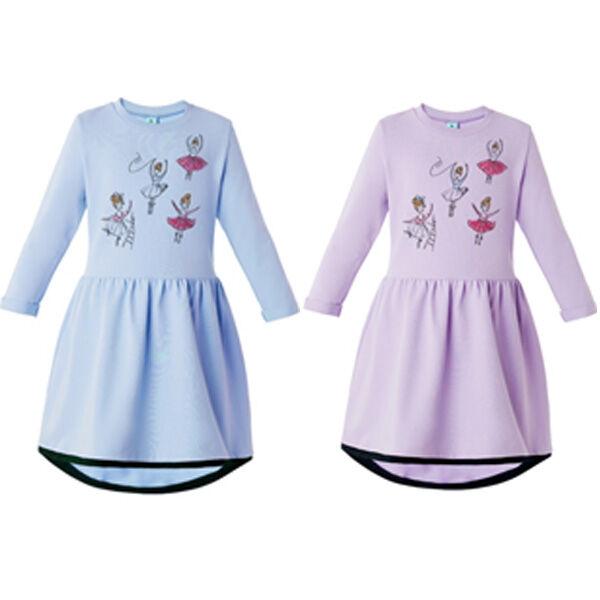 Лиловый Белоруссия 95% хлопок 5% лайкра  Платье для девочки из хлопкового трикотажа найвысшего качества пенье. С контрасной деталью по низу юбки. Украшено принтом. Футер 2-х нитка
