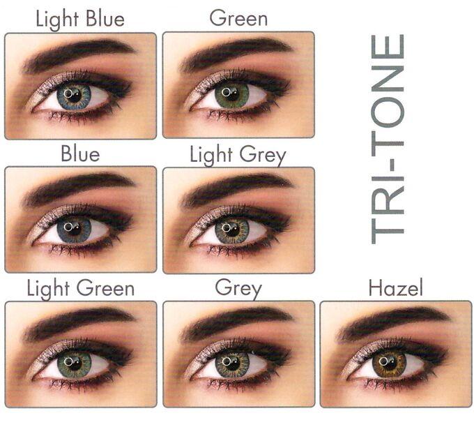 Перекрывающие цветные контактные линзы (EyeMed) ADORE PLANO Линейка TRI (2 линзы)